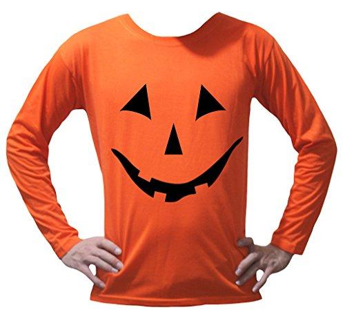 Petitebella Halloween Pumpkin Face Orange L/s T-Shirt Unisex Adult Clothing (Larges)