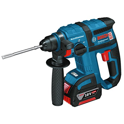 Bosch Professional GBH 18 V-EC Cordless Rotary Hammer Drill with Two 18 V 4.0 Ah Lithium-Ion Batteries