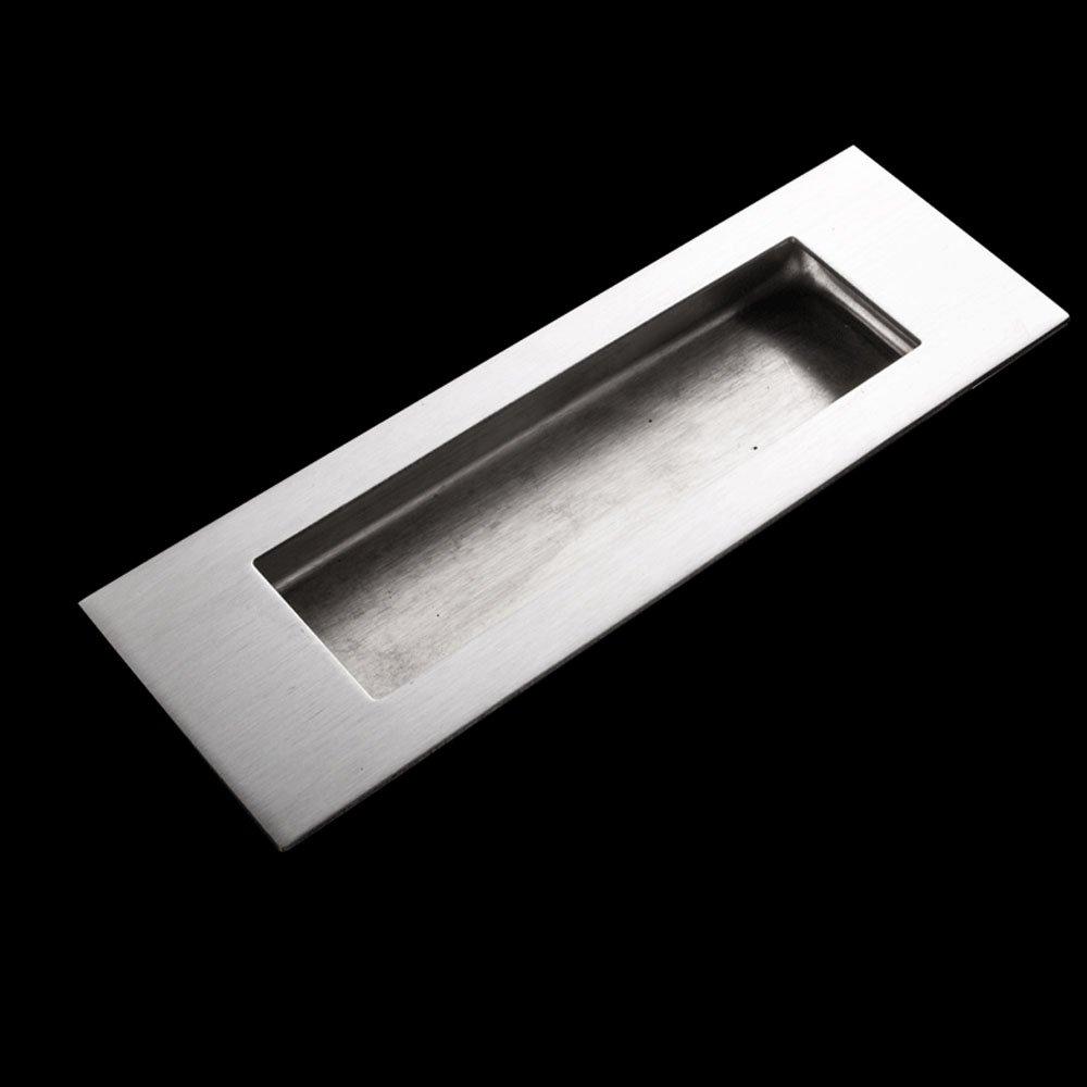 Funsmore FlushPull Handle 6 inch Rectangular Flush Recessed Sliding Door Pull Handles for Barn Door Hardware 2 Pack Silver by Funsmore (Image #2)