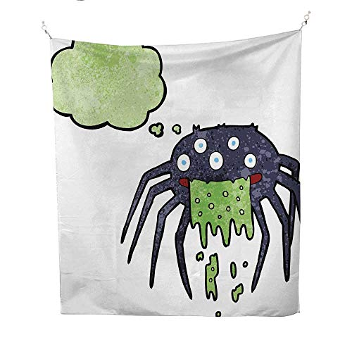 25 Home Decor Tapestries Cartoon Gross Halloween Spider with Thought Bubble dope Tapestries 60W x 91L -