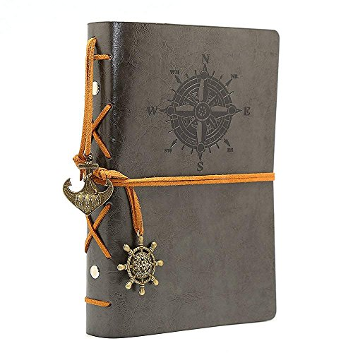 Leather Journal Writing Notebook - Leather Bound Daily Notepad for Men & Women Unlined Paper Medium 7 x 5 inches, Best Gift for Art Sketchbook, Travel Diary & Notebooks to Write in