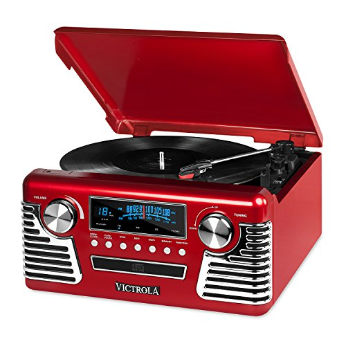 (Victrola 50's Retro 3-Speed Bluetooth Turntable with Stereo, CD Player and Speakers, Red)