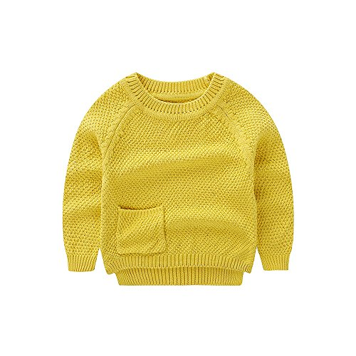 WeddingPach Baby Boys Girls Crochet Sweater Infant Kids Cotton Cardigans Casual Pullover 6M-4T (3T, Yellow)