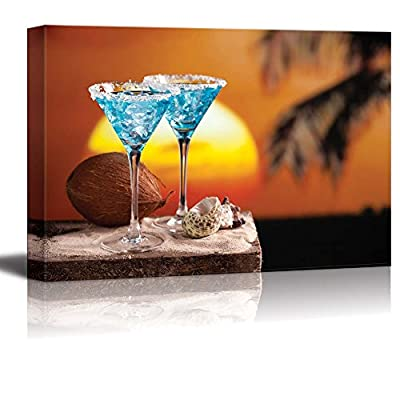 Canvas Prints Wall Art - Two Blue Cocktail on Beach at Sunset | Modern Wall Decor/Home Decoration Stretched Gallery Canvas Wrap Giclee Print & Ready to Hang - 32
