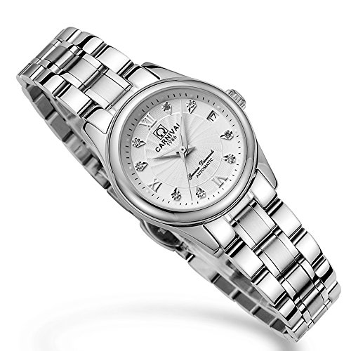 CARNIVAL Mechanical Couple Watches Men and Women His or Hers Gift Set of 2 (White) by Carnival (Image #7)