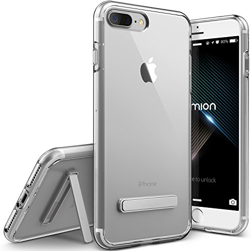 iPhone 8 Plus Case, (Diamont Lite - Clear)(Crystal Clear Slim Fit) Premium Hybrid Kickstand (Hard Drop Protection Bumper) Transparent Lightweight Cover for Apple iPhone 7 Plus / 8+ 2017 by Lumion