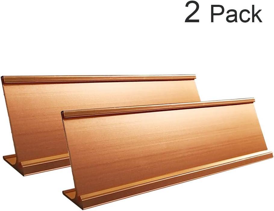 """2"""" x 8"""" Aluminum Desk Name Plate Holder, Office Business Desk Sign Holder Desktop 2 Pack (Rose Gold)"""