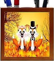 Rikki Knight Red Foxes in Love Wedding Illustration Design 5-Inch Tile Wooden Tile Pen Holder (RK-PH44621)