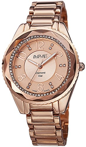 August Steiner Women's AS8122RG Swiss Quartz Diamond Dial Rose-tone Bracelet Watch