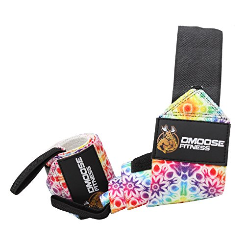 (DMoose Fitness Wrist Wraps - Premium Quality, Strong Fastening Straps, Thumb Loops - Maximize Your Weightlifting, Powerlifting, Bodybuilding, Strength Training & Crossfit ...)