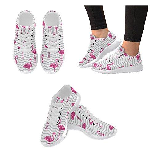 Interestprint Femmes Jogging Running Sneaker Léger Aller Facile Confort De Marche Sport Chaussures De Sport Rouge Flamant Oiseaux