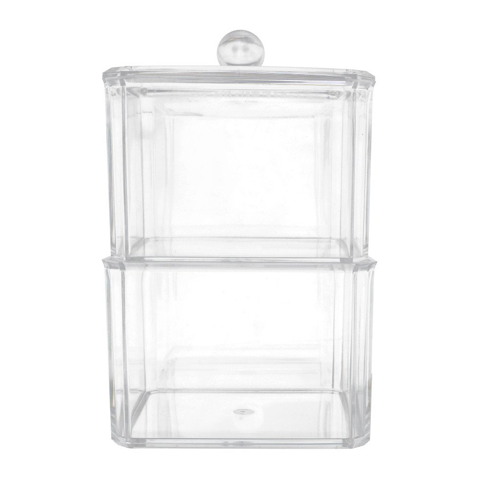 Hennta 2 Level Makeup Brush Holder Dustproof Storage Box Thick Acrylic Makeup Organizer Lipstick Cosmetic Organizer Clear Display Holder Cosmetic Storage Beauty Container Tray