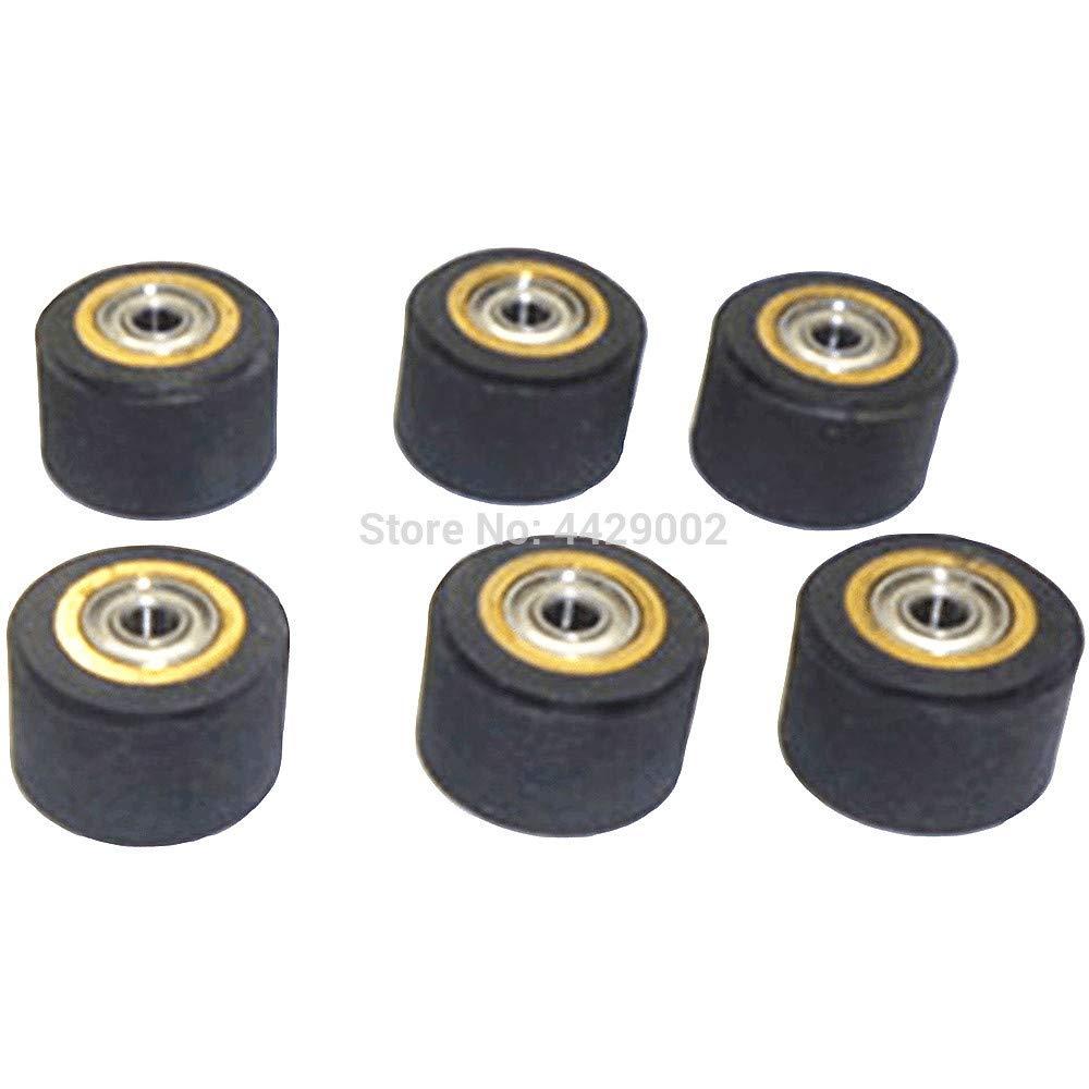 Fevas 1/2/3/4/5/6pcs 3mmx11mmx16mm Copper Core Pinch Roller Vinyl Plotter Cutter Cutting Engraving Machine Printer Paper Feed Wheel - (Color: 6pcs)