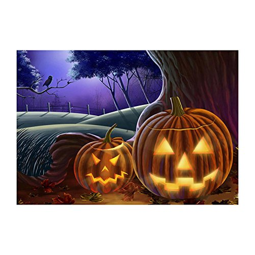 Whitelotous Halloween Pumpkin Lantern 5D Diamond Painting Kit Full Round Drill DIY Needlework Cross Stitch Set 16 x 12 -
