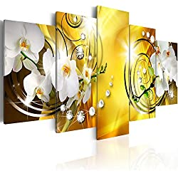 "Everlands Art Flower Canvas Print Art Wall Decor Picture 5 Panels White Orchid Floral Painting Contemporary Diamond HD Yellow Artwork for Bedroom Framed Ready to Hang (40""x20"", Yellow Admiration)"