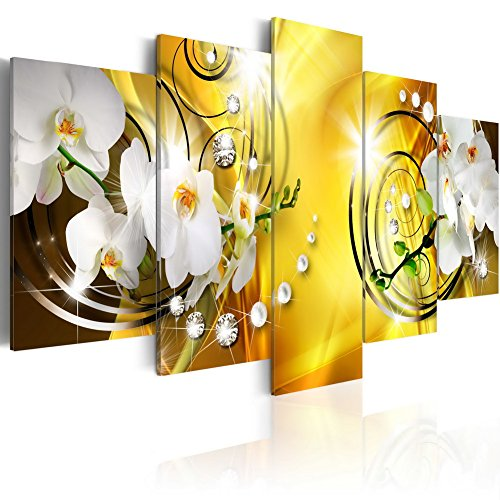 (Everlands Art Flower Canvas Print Art Wall Decor Picture 5 Panels White Orchid Floral Painting Contemporary Diamond HD Yellow Artwork for Bedroom Framed Ready to Hang (40