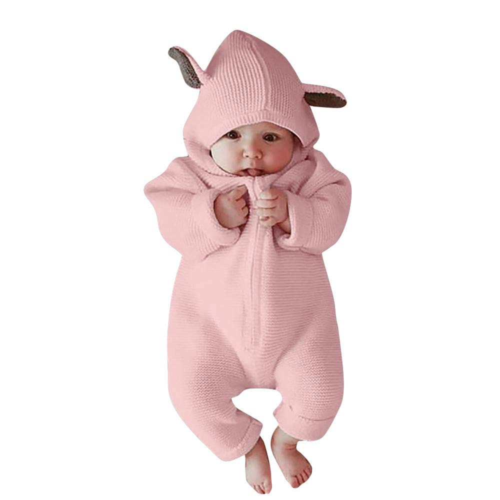 Felicy Toddler Newborn Infant Baby Boys Girls Long Sleeve Cartoon 3D Ear Hooded Knitted Romper Jumpsuit Winter Warm Sweater Clothes