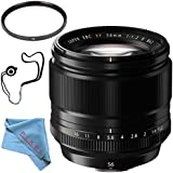 Fujifilm XF 56mm f/1.2 R Lens 16418649 + 62mm UV Filter + Fibercloth + Lens Capkeeper Bundle