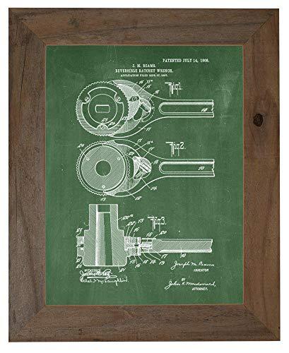 Reversible Ratchet-Wrench Patent Art Green Chalkboard Print in a Barnwood Frame (16