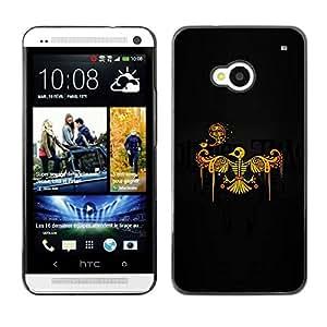Slim Design Hard PC/Aluminum Shell Case Cover for HTC One M7 Phoenix Bird Skeleton Skull / JUSTGO PHONE PROTECTOR