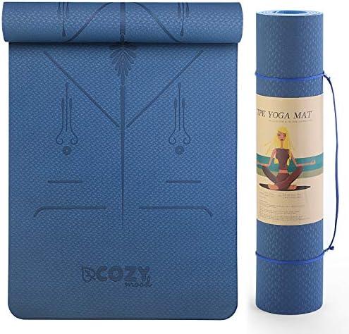 cozymood Yoga Mat 6mm Thick Yoga Mat Non-Slip Exercise Fitness Mat Eco Friendly Workout Mat for Yoga, Pilates & Floor Exercises