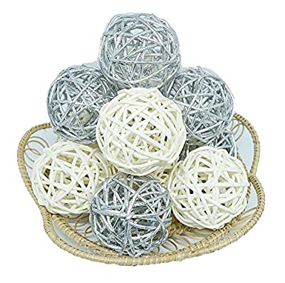 Thailand's Gifts : Natural Small Wicker Balls With Two Tone Color Silver And White For DIY Vase And Bowl Filler Ornament, Decorative Spheres Balls Perfect For Decoration And Party 2-2.5 inch 12 Pcs