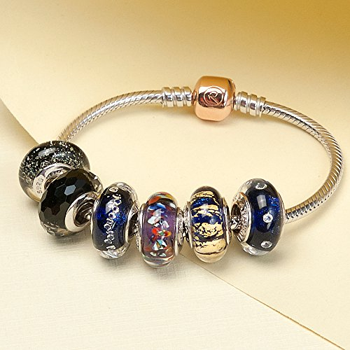 ATHENAIE Genuine Murano Glass 925 Silver Core Dark Blue Sand with Gold Foil Charm Bead Fit All European Bracelets by ATHENAIE