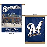 "MLB Milwaukee Brewers 47773013 2 Sided Vertical Flag, 28"" x 40"""