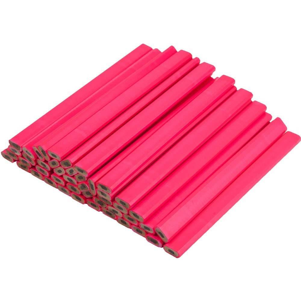 Neon Pink Carpenter Pencils - 72 Count Bulk Box - Ten Color Choices