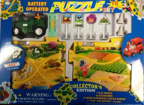 Puzzle Car Set -- Battery Operated Farm Tractor