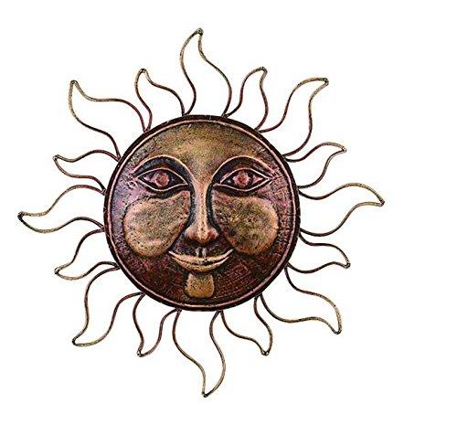 Sun Face Wall Decor - Deco 79 26541 Brass Sun Face Wall Decor, 16-Inch