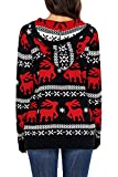HOTAPEI Womens Ugly Christmas Reindeer Snowflakes Oversized Hooded Sweaters