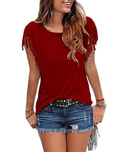 Solid Color Plain Shirts for Women Short Sleeve Summer Tops Blouses Wine Red Crew Neck Sexy Size XXL Rena Tunic