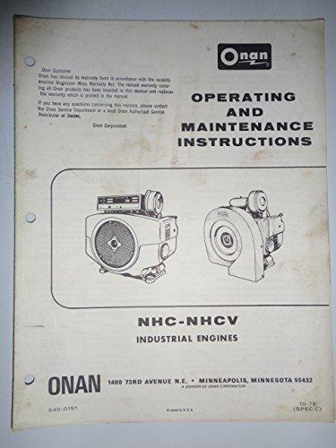Onan NHC NHCV Industrial Engine Operators Owners Manual Fold-Out original 10/75