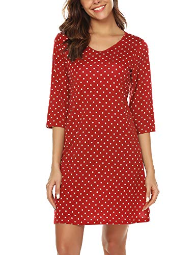 - URRU Women's Sleepwear Cotton Nightgown V-Neck 3/4 Sleeve Polka Dot Sleepshirt Wine Red L