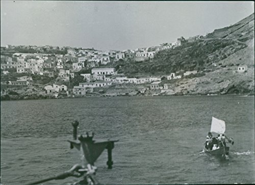 Vintage photo of A view of Italian officials on a boat bearing a white flag as a token of surrender.