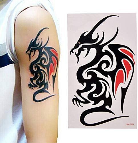 1 hoja grande grande espalda tatuaje pegatina lobo tigre dragón cuerpo arte temporal para mujeres hombres tatuaje impermeable: Amazon.es: Belleza