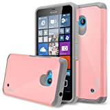 Lumia 640 Case, RANZ Grey with Pink Hard Impact Dual Layer Shockproof Bumper Case for Microsoft Nokia Lumia 640