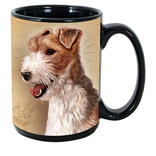 Imprints Plus Dog Breeds (R-Z) Wire Fox Terrier 15-oz Coffee Mug Bundle with Non-Negotiable K-Nine Cash (wire fox terrier 189)