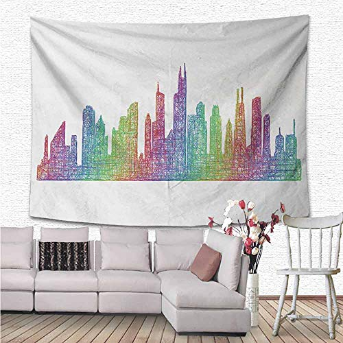 Chicago Skyline Tapestry Wall Hanging, Abstract City Scene in Mixed Rainbow Tones Modern Featured Artful Kitsch Bedspread Couch Beach Towel Home Living Room Bedroom Dorm. Decor, 59
