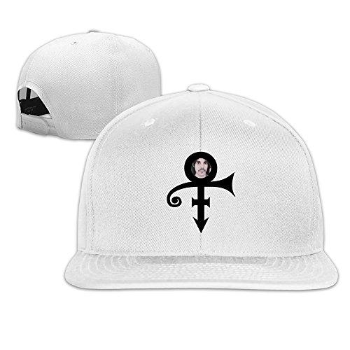 Custom Unisex-Adult Hermaphrodite Symbol Singer Logo Flat Billed Baseball Caps White (Disney White Perfume)
