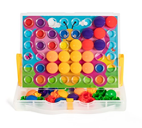 Button Mosaic Transperent Pegboard with 50 Buttons and 16 full colored pictures (Toys With Buttons)