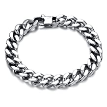 COCO Park New Fashion Men Jewelry Silver Stainless Steel Metal Textured Clasp Bangle Wristband Cuban Curb Link Chain Solid Bracelet