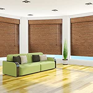 """Arlo Blinds, Dali Native Light Filtering Bamboo Roman Shade with Valance - Size: 40""""W x 54""""H"""