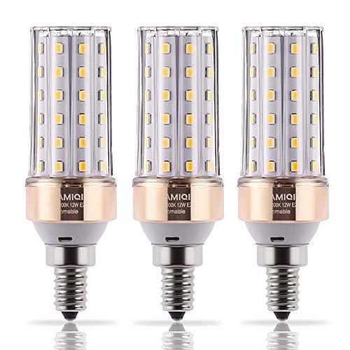 ILAMIQI E12 LED Bulbs Dimmable,10W LED Candelabra Light Bulbs,100 Watt Equivalent,Soft White 3000K LED Chandelier Bulbs, Ceiling Fan,Decorative Candle Base, Pack of - Chandelier 100w
