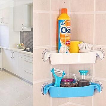 TOOGOO Bathroom Corner Storage Rack Organizer Estante de pared de ducha con ventosa Home Bathroom Shelves Blanco