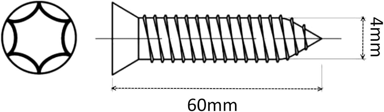 AERZETIX 100x Tornillos para madera con cabeza c/ónica 4//60mm acero galvanizado huella Torx C41542