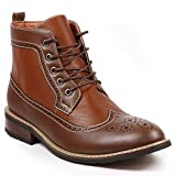 Metrocharm MET525-4 Men's Lace up Perforated Wing Tip Formal Dress Casual Fashion Ankle Boots (9.5, Brown)