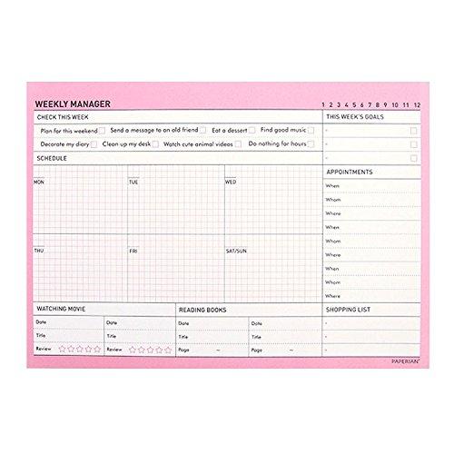 Lovely Desktop Weekly To Do List Notepad Weekly Planner Pad Notebook Weekly Scheduler Pad Desk Planner Desk Pad Calendar Desk Blotter Undated Calendar, 50 Sheets, 8.3X5.8 (Pink)