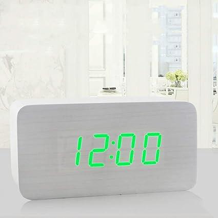 Footprintse Reloj LED de Moda Reloj de Control de Voz electrónico de Madera Forma Rectangular Reloj